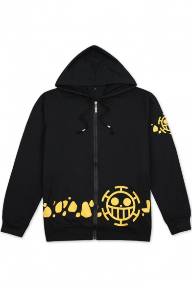 One Piece Fashion Printed Hem Long Sleeve Fitted Cotton Zip Up Hoodie