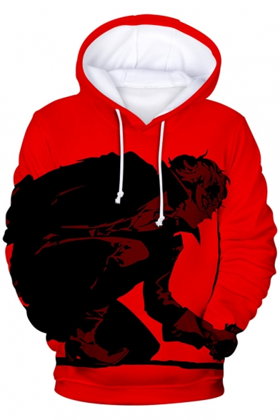 Persona 5 Cool 3D Game Character Pattern Long Sleeve Relaxed Fit Drawstring Hoodie