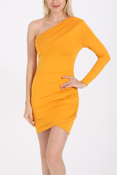 Sexy One Shoulder Long Sleeve Solid Color Pleated Detail Mini Bodycon Dress