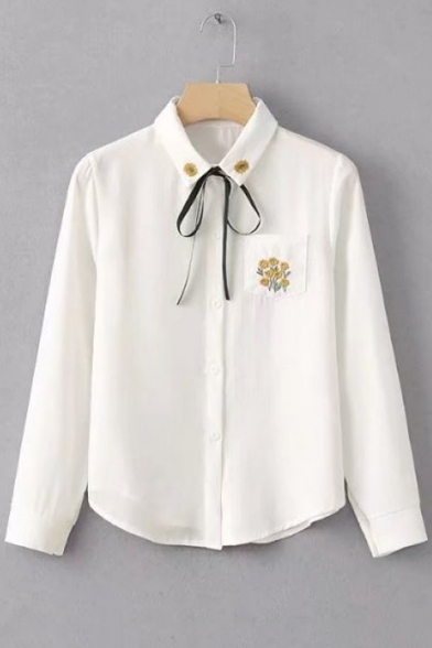 Simple Floral Embroidery Pocket Bow-Tied Collar Long Sleeve White Button Down Shirt