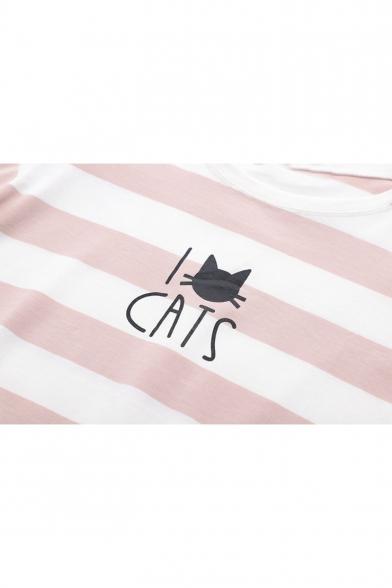 Summer Cats Printed Classic Striped Round Neck Relaxed T-Shirt