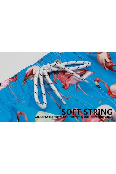 Summer New Popular Flamingo Pattern Drawstring-Waist Loose Relaxed Beach Swim Trunks