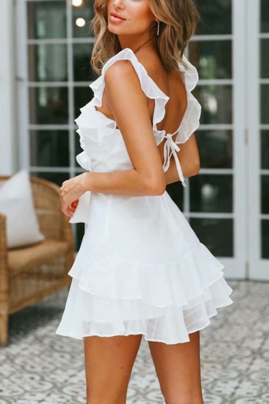 Summer New Stylish Simple Plain V-Neck Ruffled Hem Bow-Tied Waist Mini A-Line Dress