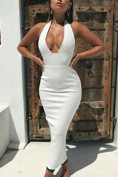 Womens New Fashion Simple Plain Halter Sleeveless Backless Maxi Bodycon Dress