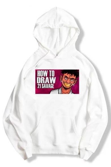 21 Savage Funny Cartoon Character Printed Street Style Hip Hop Cotton Hoodie