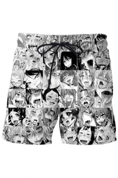 Ahegao Popular Comic Girl Printed Drawstring Waist Dry-Fit Unisex Casual Sport Athletic Black Shorts
