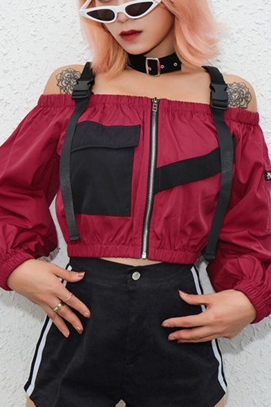Buckle Straps Off The Shoulder Contrast Pocket Patch Long Sleeve Cropped Zip Up Jacket