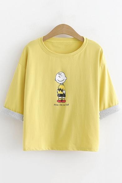 Cute Cartoon Boy Letter ALNAYS BE YOUR TELF Short Sleeve Students T-Shirt