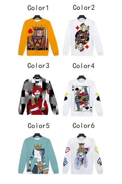 Funny 3D King Queen Poker Card Printed Long Sleeve Crewneck Leisure Loose Sweatshirt