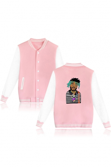 Funny Portrait Printed Rib Collar Long Sleeve Button Front Baseball Jacket