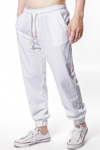 Men's Drawstring-Waist Basic Plain Washed Cotton Elasticized Cuff Casual Lounge Pants