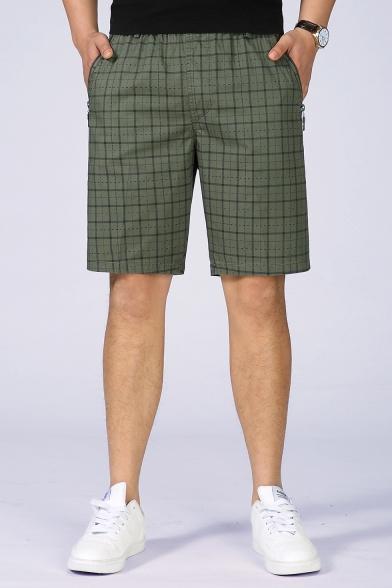 Men's Elastic Waist Fashion Plaid Printed Zip-Pocket Washed Cotton Casual Chino Shorts