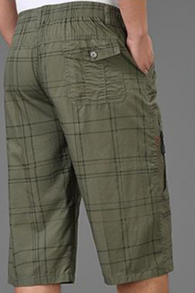 Men's Summer Fashion Check Printed Elastic-Waist Loose Fit Cotton Relaxed Shorts