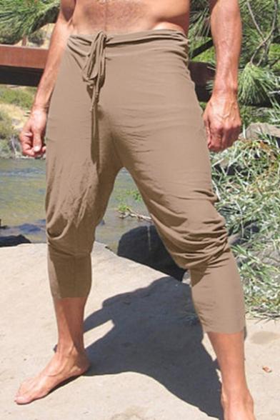 Men's Summer New Stylish Basic Plain Drawstring-Waist Comfort Casual Cotton Cropped Harem Pants