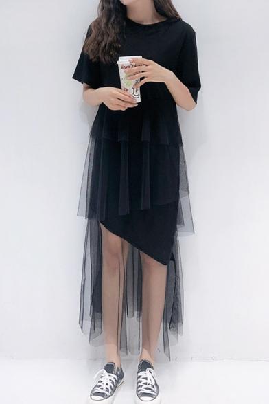 New Style Mesh Panel Short Sleeve Round Neck Plain Maxi Asymmetrical Cake Dress