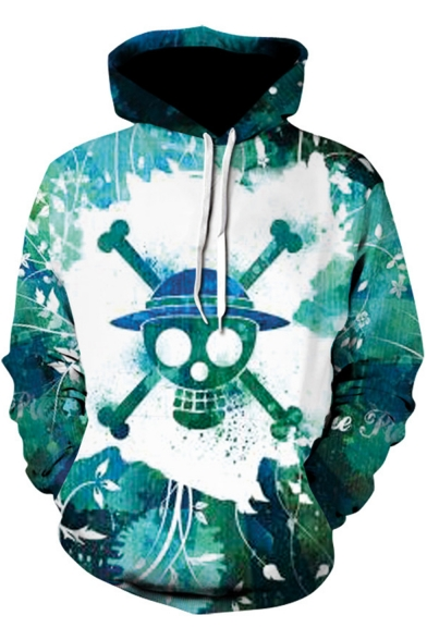 One Piece 3D Skull Pattern Long Sleeve Casual Sport Pullover Green Hoodie