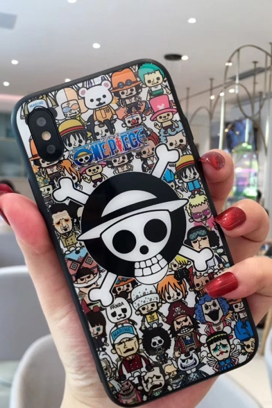 One Piece Comic Figure Print Toughened Glass Mobile Phone Case for iPhone