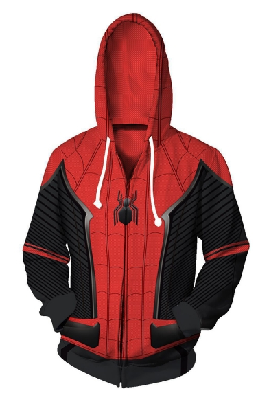 Spider-Man Far From Home 3D Printed Cosplay Costume Full-Zip Long Sleeve Red Sport Hoodie