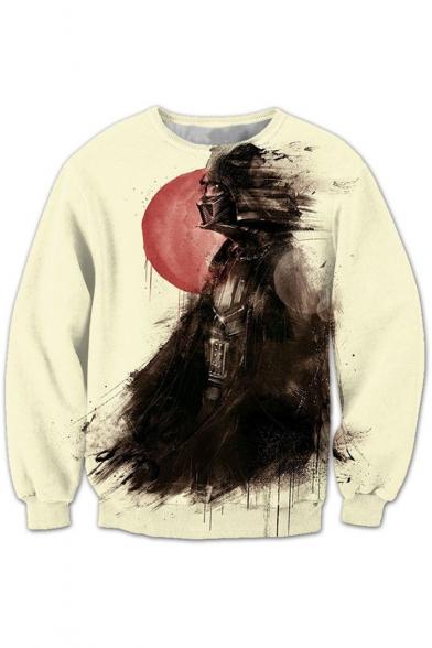 Star Wars Darth Vader Creative Sketch Printed Round Neck Long Sleeve Pullover Sweatshirt