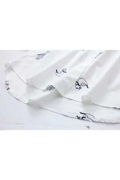 Stylish Allover Cat Printed Long Sleeve Relaxed Button Down Longline White Shirt