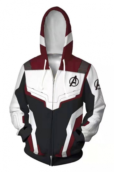 The Avengers Quantum Battle Suit Cool 3D Printed Cosplay Costume Zip Up White Hoodie