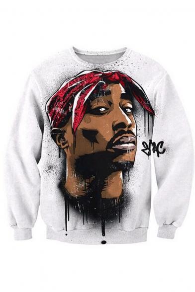 Hip Hop American Rapper Portrait Print Unisex Casual Loose White Sweatshirt