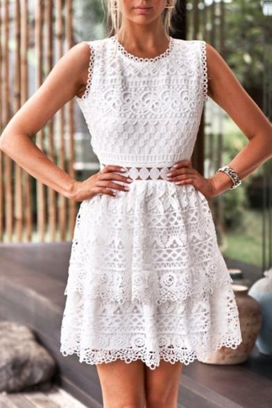 Fashion White Lace Crochet Backless Round Neck Sleeveless Mini A-Line Cake Dress