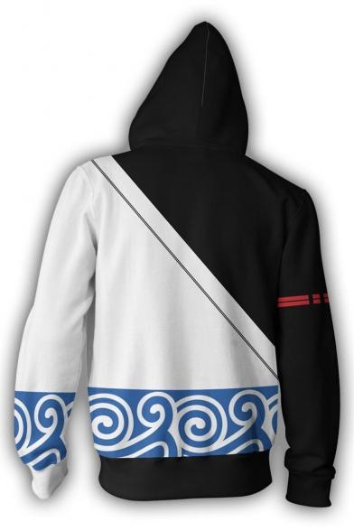 Gin Tama Gintoki Sakata New Fashion Comic Cosplay Zip-Front Casual Black and White Hoodie