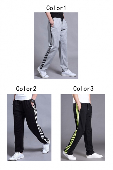 Guys Trendy Striped Side Drawstring Waist Straight-Leg Casual Loose Joggers Sweatpants