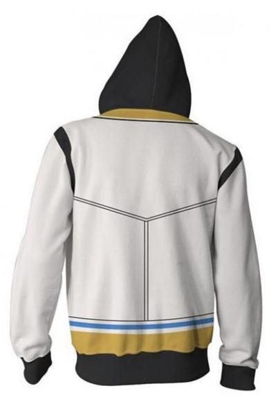 Kingdom Hearts Fashion 3D Printed Long Sleeve Zip Up Black and White Drawstring Hoodie