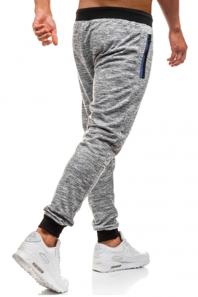 Mens Trendy Heather Color Drawstring Waist Zip Pocket Breathable Quick-Dry Fitness Sweatpants