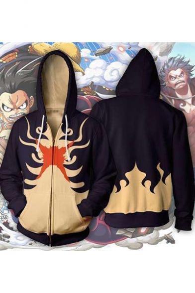 One Piece Comic 3D Pattern Long Sleeve Full Zip Loose Fit Black Hoodie
