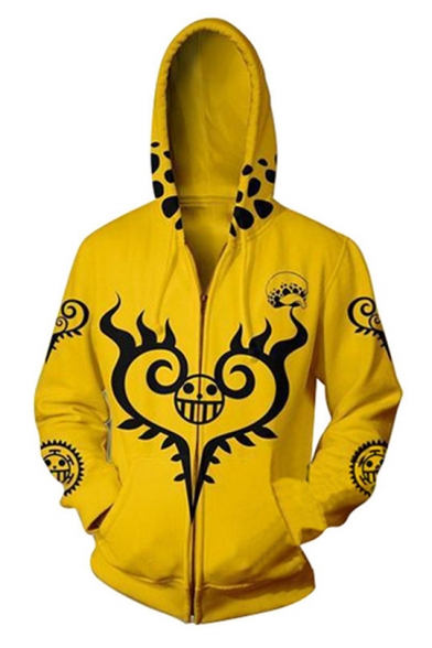 One Piece Fashion Heart Pattern Long Sleeve Comic Cosplay Costume Zip Up Yellow Hoodie