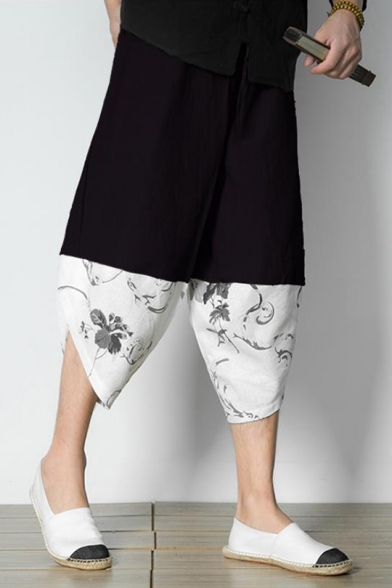 Summer Chinese Style Retro Floral Painting Casual Loose Linen Cropped Wide-Leg Pants