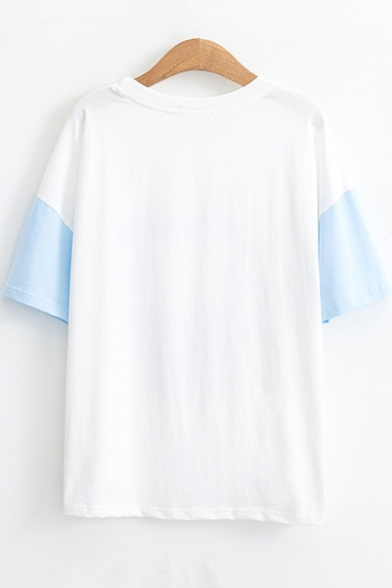 Summer Cute Cartoon Bear Printed Round Neck Short Sleeve Relaxed T-Shirt