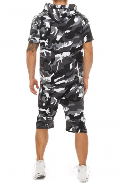 Summer New Trendy Classic Camo Printed Short Sleeve Hooded Zip-Up Casual Rompers for Men