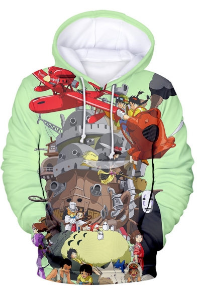 Totoro New Fashion 3D Comic Anime Character Pattern Green Pullover Hoodie