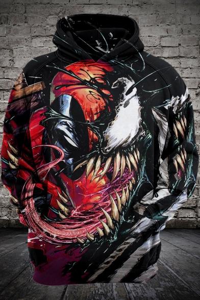 Cool 3D Printing Casual Sport Long Sleeve Pullover Black Hoodie