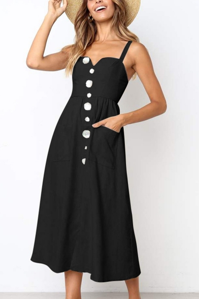 Womens Fashion Simple Plain Button Down Midi A-Line Cami Dress with Pocket