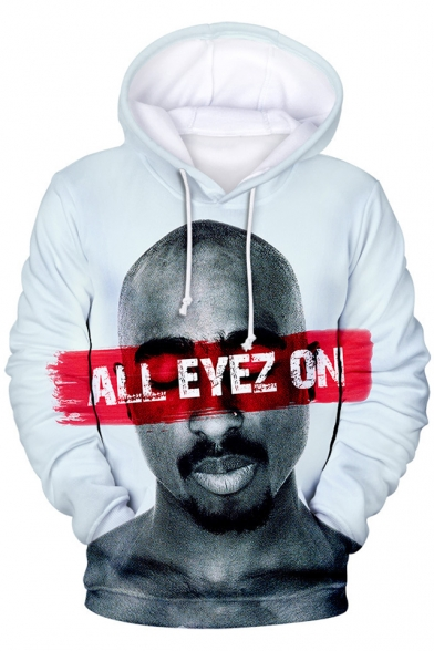 Popular American Rapper 3D Figure Letter ALL EYEZ ON Print Hip Hop Style Loose Casual Hoodie