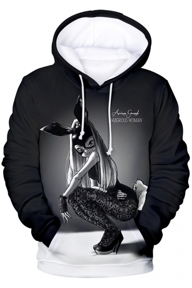 Popular American Singer 3D Figure Sexy Bunny Girl Print Relaxed Fit Drawstring Hoodie
