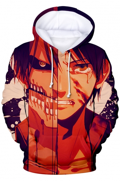 Attack on Titan Cool 3D Comic Character Pattern Long Sleeve Sport Loose Hoodie