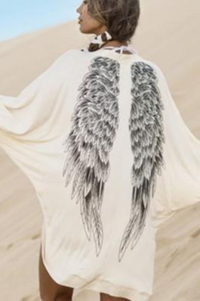 Autumn's New Arrival Wing Pattern Back Batwing Sleeve Open Front White Coat