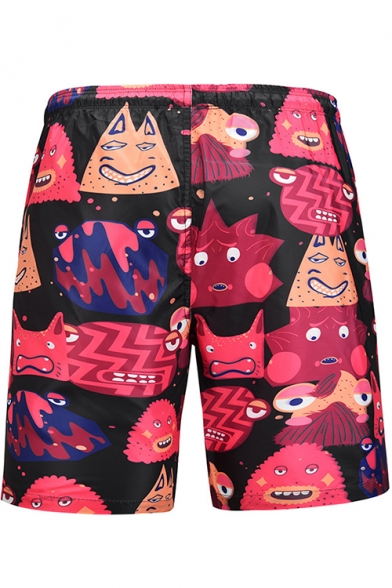 Black Fast Drying Comic Cartoon Pattern Casual Loose Relaxed Men's Swim Trunks with Drawstring