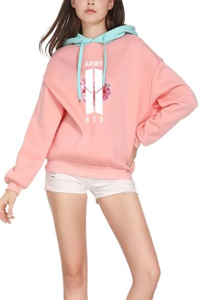 ARMY Kpop Colorblocked Long Sleeve Drawstring Hoodie in Pink
