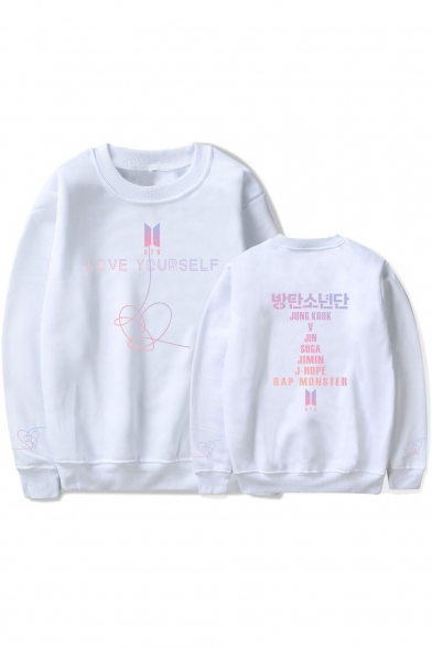 Boy Band Logo Popular LOVE YOURSELF Long Sleeve Loose Sport Round Neck Pullover Unisex Sweatshirt