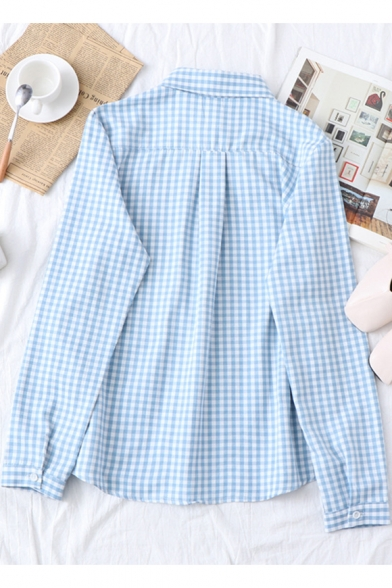 Cartoon Cat Embroidery Pocket Simple Long Sleeve Button Front Plaid Shirt