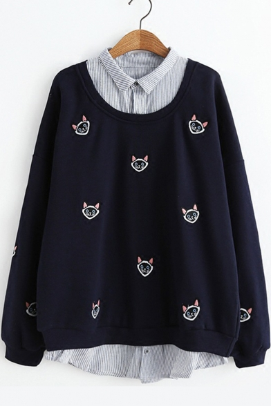 Cute Allover Cartoon Cat Embroidered Patched Lapel Collar Long Sleeve Womens Fake Two-Piece Sweatshirt