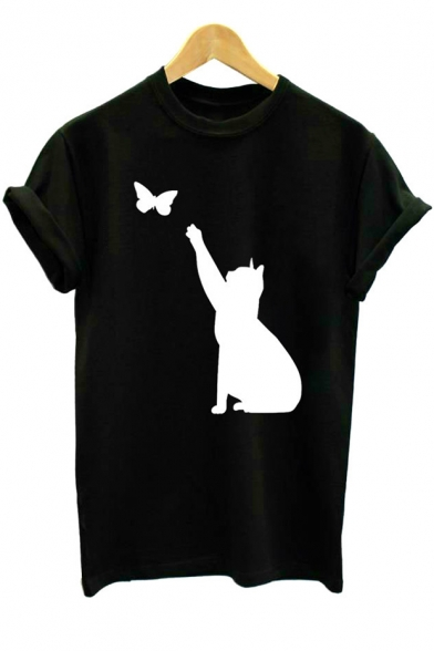 Cute Butterfly Cat Printed Basic Short Sleeve Round Neck Unisex T-Shirt