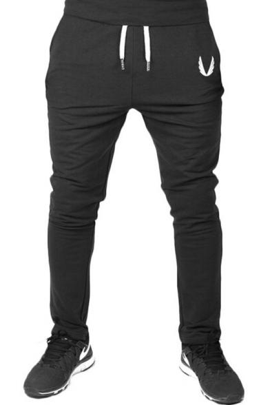 Fashion Logo Printed Drawstring Waist Mens Skinny Fit Joggers Pencil Pants